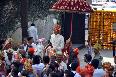 Ritesh Deshmukh arriving on horse back with the baaraatis at his wedding venue hotel Grand Hyatt Photo