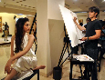 Ali Zafar painting a portrait of Aditi Rao Hydari to promote their film LONDON PARIS NEW YORK in Mumbai Pic