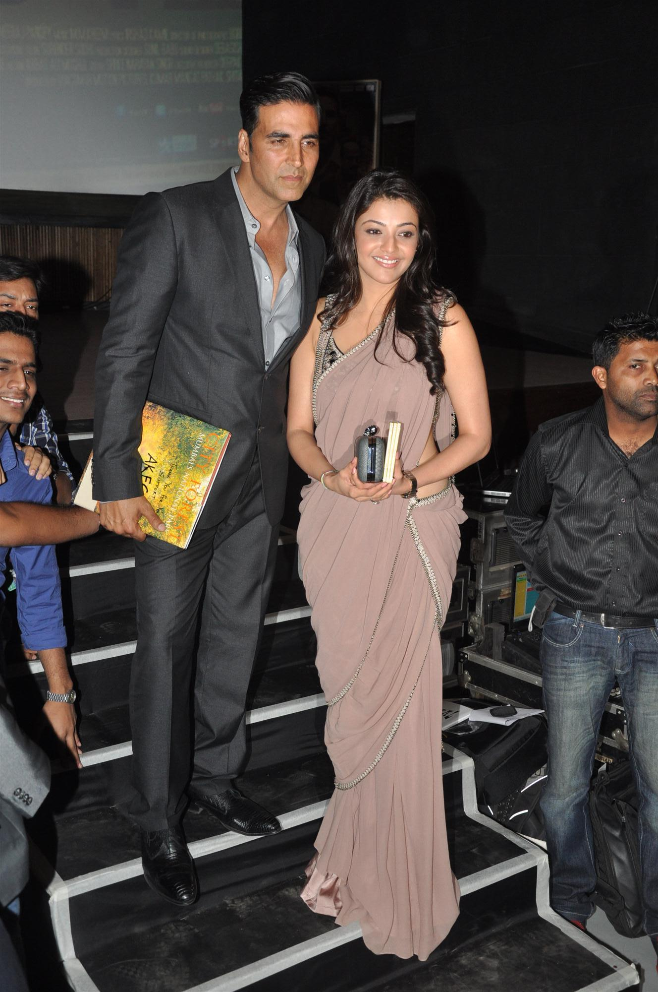 Akshay Kumar with Kajal Agarwal at the music launch of film
