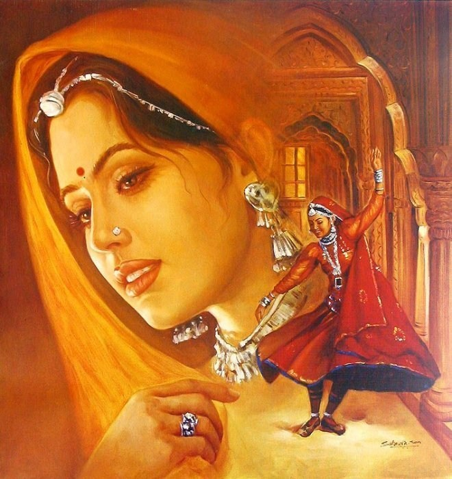 Indian painting indian gifts portal on rediff pages - Beautiful woman painting hd ...