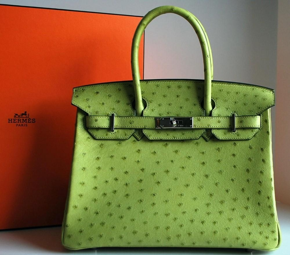 Discount HERMES Lime Ostrich Birkin Bag 30cm discount tote bags small