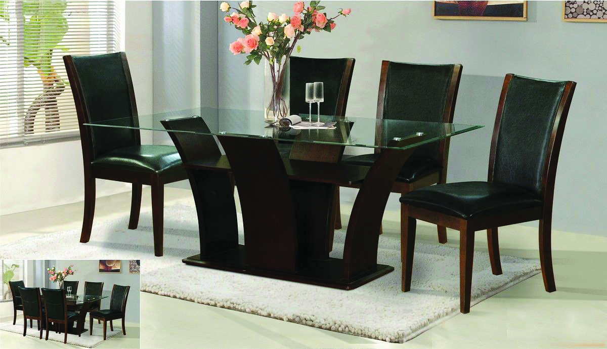 Furniture outstanding dining table glass top with alluring for Latest wooden dining table designs with glass top