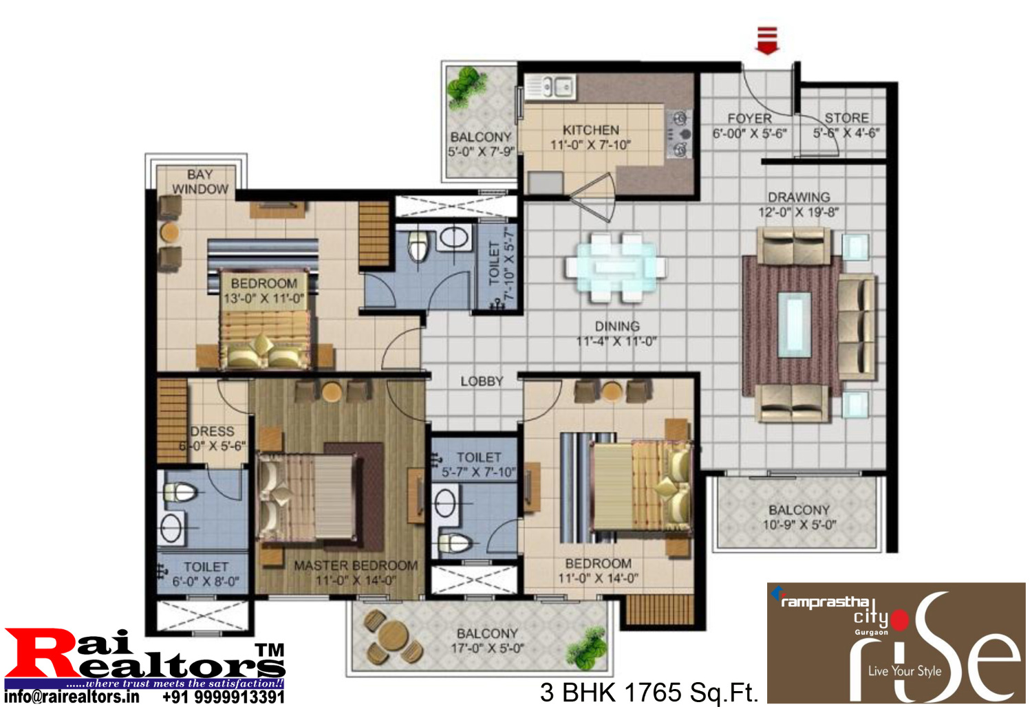 Ramprastha Rise Unit Layout 3bhk 1765 Sqft Ramprastha