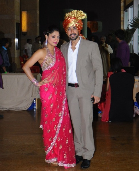 Ashish Choudhary with wife Samita at the wedding ceremony of Dheeraj Deshmukh and Honey Bhagnani in Mumbai