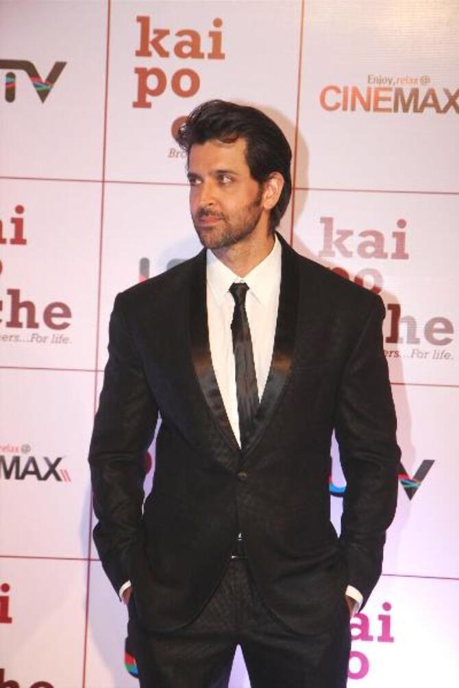 Actor Hrithik Roshan at film KAI PO CHE premiere at Cinemax in Mumbai  2