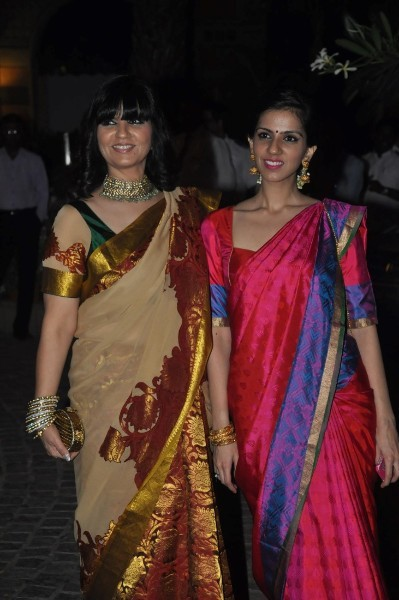 Designer Neeta Lulla with daughter Nishka Lulla at the wedding reception of Ahana Deol in Mumbai