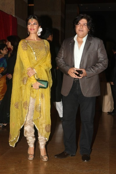 Jacqueline Fernandez with boyfriend Sajid Khan at Ritesh Deshmukh Genelia Wedding Reception at Hotel Grand Hyatt in Mumbai Pic