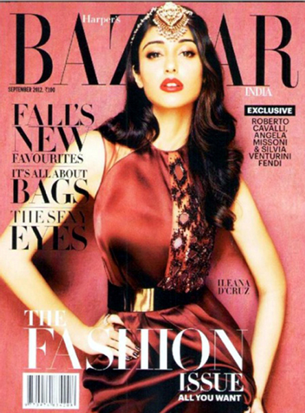 Ileana DCruz Harpers Bazaar Magazine Sep 2012 Cover Page Photo