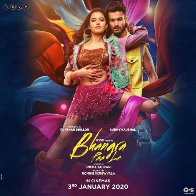 First look poster of Bhangra Paa Le Stars Sunny Kaushal  Rukshar Dhillon and Shriya Pilgaonkar