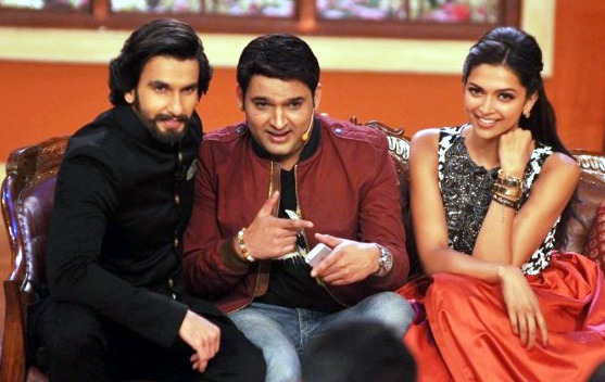 Ranveer and Deepika Padukone with Kapil Sharma promoting RAM LEELA on Comedy Nights With Kapils