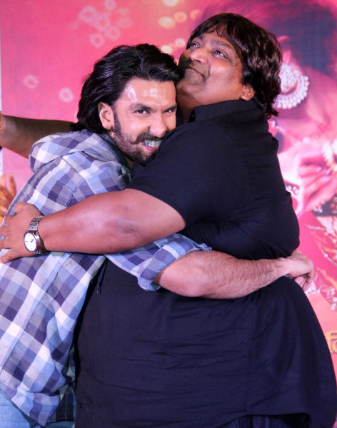 Ranveer Singh dancing choreographer Ganesh Acharya at film RAM LEELA promotions at Infiniti Mall in Mumbai